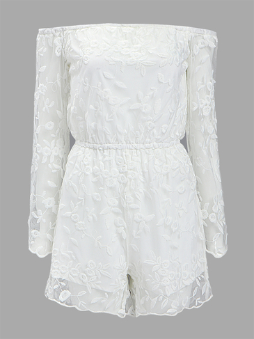 White Off Shoulder Crochet Lace Playsuit with Long Sleeves