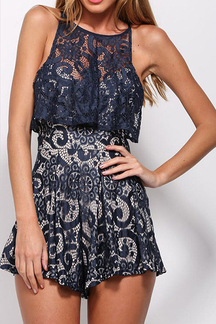 Navy Lace Round Neck Pleated Cami Playsuit
