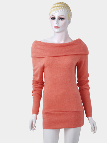 Orange Pile Collar Long Sleeves Casual T-shirts