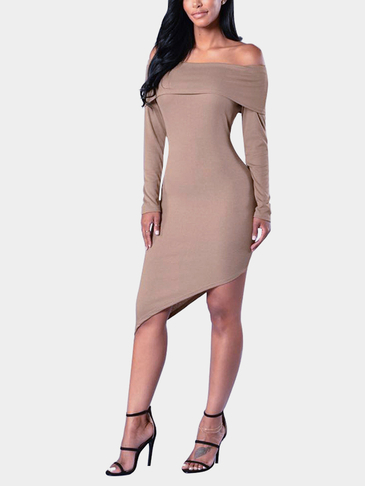 Apricot Bodycon Off Shoulder Irregular Hem Thin Mini Dress