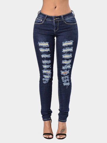 Dark Blue Middle-waist Skinny Elastic Ripped Jeans