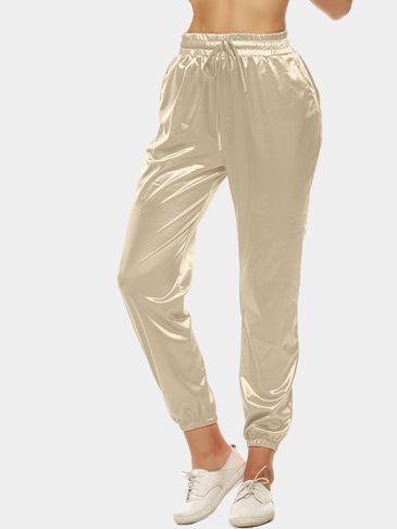 Beige Cropped Trousers with Self-tie Waist