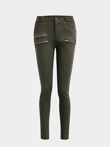 Green Casual High-waisted Ripped Bodycon fit Trousers