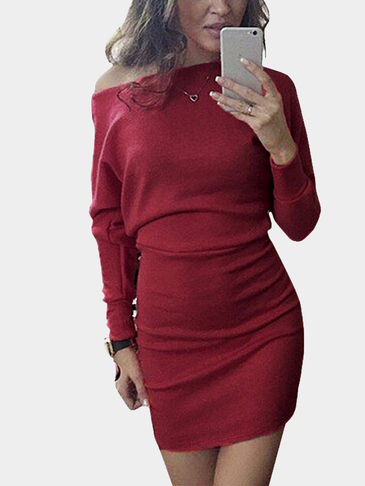 Off shoulder Bat Long Sleeves Mini Dress in Burgundy