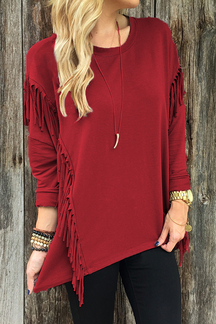 Red Round Neck Long Sleeves Irregular Hem Top with Tassel Details