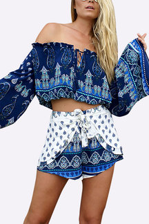 Bohemia Random Print Off Shoulder Top and Shorts Co-ord