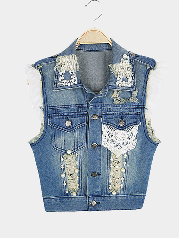 Denim Hole Gilet With Handmade Bead