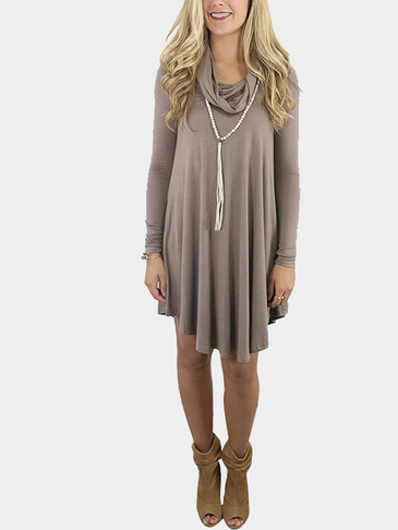 Coffee Col Boule Ruffled Hem Long Sleeves Mini Dress
