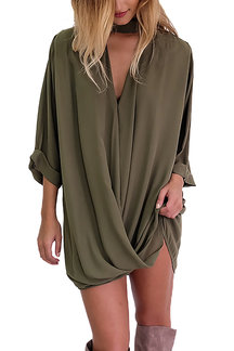Green Semi-sheer Street Mini Shirt Dress With V-neck