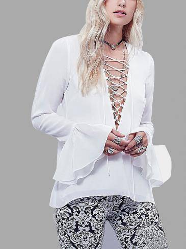 Lace-up Blouse with  Flared Sleeves
