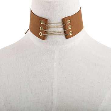 Fashion Brown Suede Gold Metal Self-tie Necklace