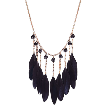 Black Feather Pendant Collar Necklace