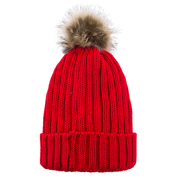 Red Beanie Hat with Artificial Fur Pom
