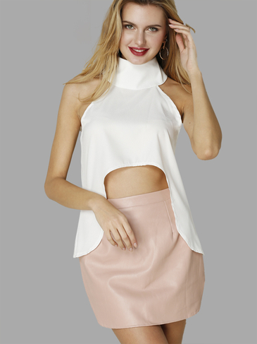 See-through White High Collar Curved Hem Fashion Cropped Top
