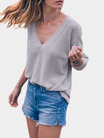 Knitted V Neck Blouse in Grey