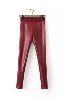 Leather-look Leggings in Red