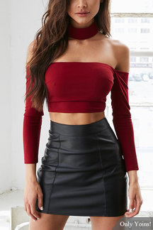 Burgundy Sexy Off Shoulder Crop Top with Long Sleeves
