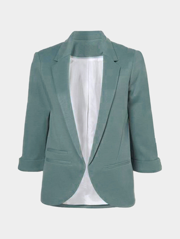 Atrovirens Fashion 3/4 Length Sleeves Open Front Blazer