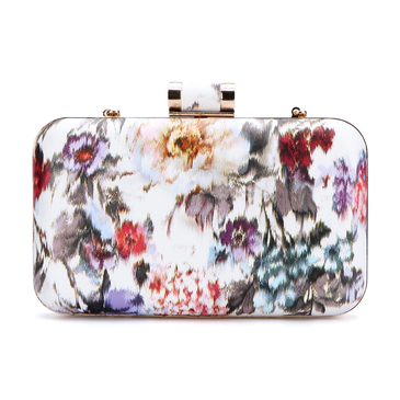 Pink Floral Print Pattern Clutch Bag with Gold-tone Hardware