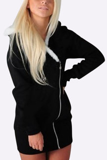 Casual Black Hoodie With Irregular Zipper