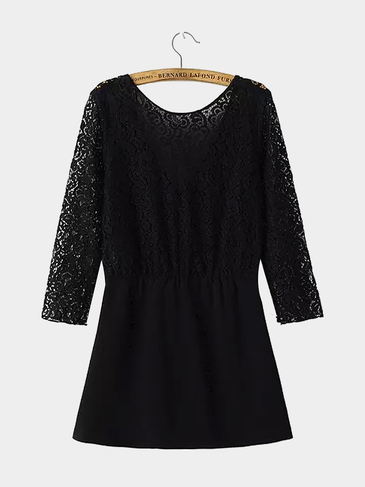 Lace Dress with V-shape Back