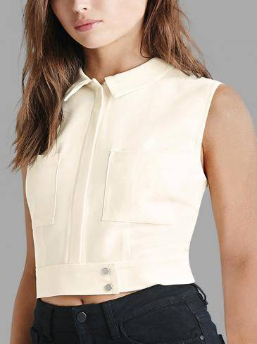 Collared Zip-Front Vest in Ivory White