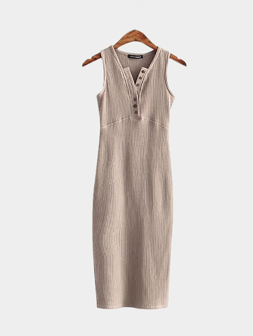 Light Brown Single Breasted Design V Neck Sleeveless Split Hem Dress