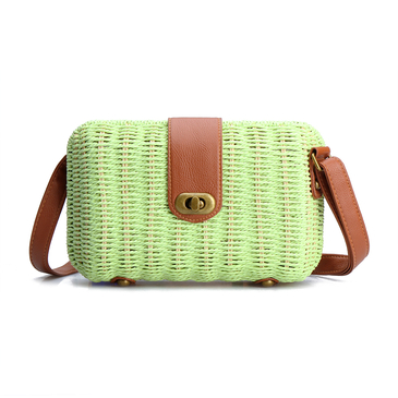 Green Woven Shoulder Bag With Twist Lock