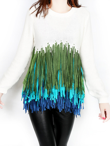 White Long Sleeves Jumper Colorful Tassel Design