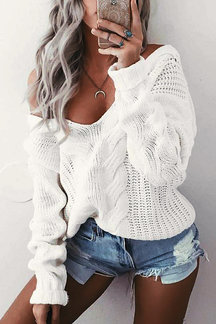 V-neck Long Sleeves Causal Jumper