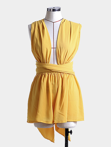 Plunge V-neck Self-tie Romper