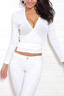 White Sexy V-neck Wrap Self-tie Top