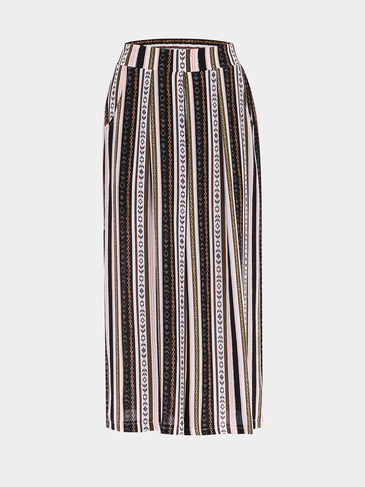 Нашивки Bohemian печати Stretch Waistband Wide Leg Брюки
