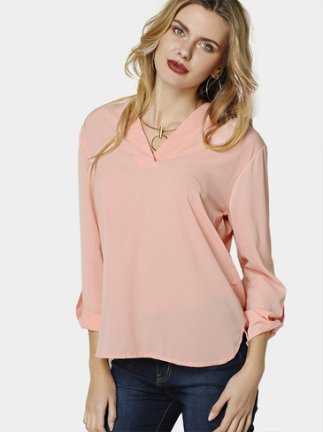 Casual Pullover V Neck Button Details Blouse