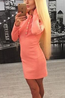 Pink Long Sleeves Button Body-con Mini Dress
