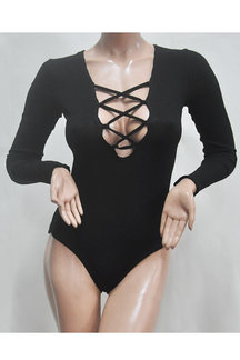 Black Lace Up Bodysuit In Knit