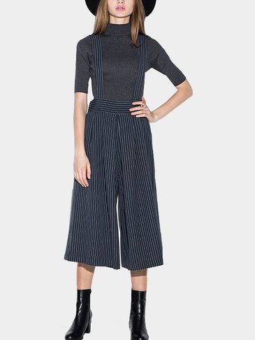 Pin Stripe Cropped Suspender Culottes