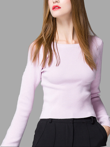 Lavender Round Collar Long Sleeve Skinny Jumper