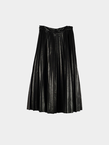 Black Pleated Midi Skirt with Stretch Waistband