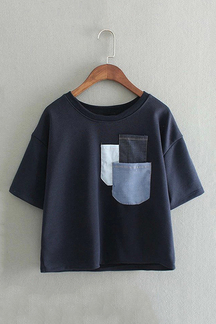 Navy Loose Thick T-shirt With Front Pocket
