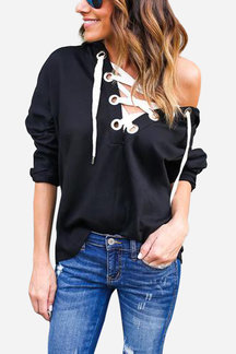 Black Long Sleeves Lace-up Design Hoodie