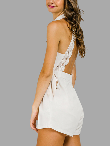 Cream High Neck Backless Wrap Playsuit with Lace Detail