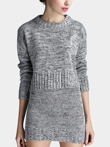 Knitted Co-ord in Grey