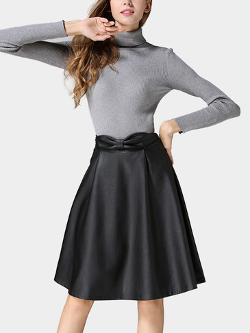 Black Fashion Artificial Leather Full Midi Skirt
