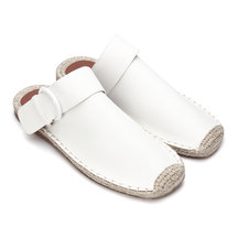 White Leather Look Pin Buckle Woven Shoes