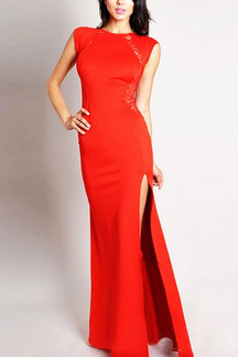 Red Lace Insert High Split Body-Conscious Maxi Dress