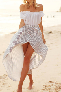 Off Shoulder See-through Chiffon Tops & Stripe Pattern Slit Maxi Skirts Co-ord