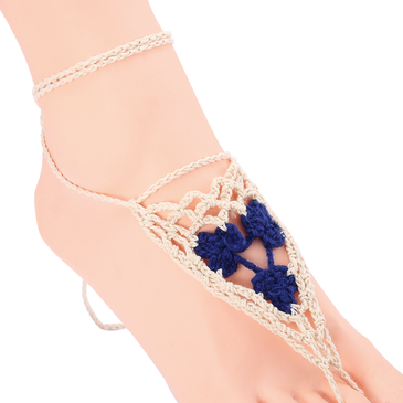 Double Color Hollow Out Details Crochet Anklets