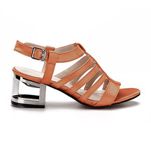 Orange Leather Look Straps Metallic Hollow Heel Gladiator Sandals
