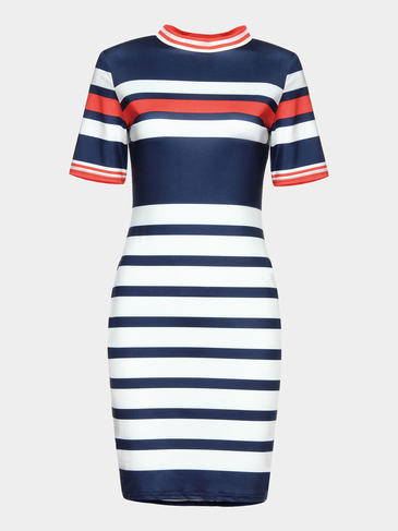 Stripe Pattern Crew Neck Mini Dress